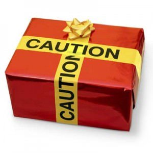 Gift wrapped with caution tape