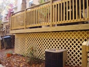 Use lattice for privacy or  around the bottom of your deck