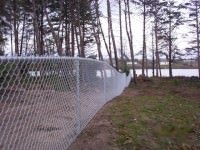 chain link fence and lake