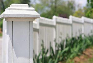 White cap on wood fence