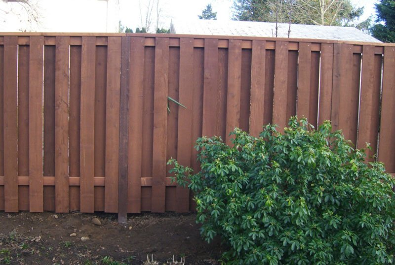 Compare chain link wood and vinyl fences. A wood fence is seen.