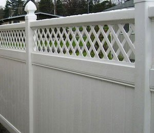 Vinyl fence with trim installed at a Portland OR home