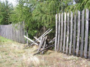 A damaged fence in Portland OR